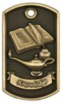 3-D Lamp Of Knowledge Dog Tag Medal 3-D Dog Tag Series
