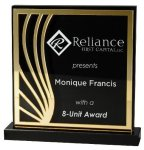 Deep Black Set Off By Gold On Acrylic  With A Black Screened Back Achievement Awards