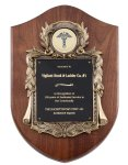 Genuine Walnut Plaque with Metal Casting with Black Engraving Plate Achievement Awards