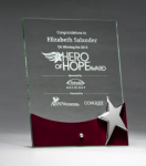 Glass Award with Silver Star and Rosewood Finish Base Achievement Awards
