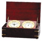 Clock and Thermometer in Rosewood Piano Finish Box Boss Gift Awards