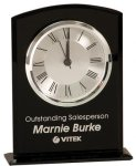 Black Glass Arch Clock with Base Boss Gift Awards