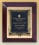 Cherry Finish Wood Frame Plaque with Wreath Cast Relief Plaques