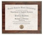 Cherry Finish Slide in Photo/Certificate Frame Plaque Certificate Holders