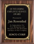 Walnut Finish Plaque with Engraving Plate Employee Awards