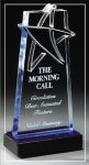 Blue Lasered Star Accent On Base Employee Awards