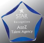 Blue Luminary Star Acrylic Employee Awards