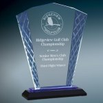 Blue Fan Accent Glass Employee Awards