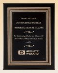 Black Piano Finish Plaque with Gold and Black Embossed Frame Employee Awards