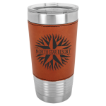 Polar Camel Lasered Leatherette Tumbler -Rawhide Insulated Pint Glasses - Leatherette