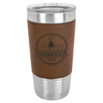 Polar Camel Lasered Leatherette Tumbler -Dark Brown Insulated Pint Glasses - Leatherette