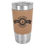 Polar Camel Lasered Leatherette Tumbler -Light Brown Insulated Pint Glasses - Leatherette