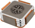 Leatherette Square Coaster Set with Silver Edge -Gray  Kitchen Gifts