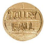 Gold Volleyball Metal Chenille Letter Insignia Lapel Pins