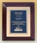 Cherry Finish Wood Frame Plaque Marble Awards