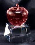 Crystal Red Apple On Base Misc. Gift Awards