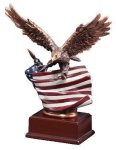 Resin Eagle With Flag Patriotic Awards