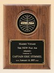 American Walnut Plaque with 4 Engravable Disk Recognition Plaques