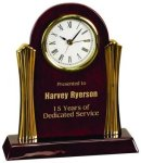 Piano Finish Desk Clock with Gold Metal Columns Sales Awards