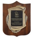 Genuine Walnut Plaque with Satin Finish and Metal Casting Shield Plaques