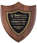 Genuine Walnut Plaque with Satin Finish Shield Plaques