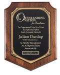 American Genuine Walnut Plaque with Satin Finish Shield Plaques