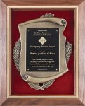 Genuine Walnut Frame with Metal Casting on Red Velour Walnut Plaques