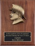 Genuine Walnut Plaque with Fireman Silhouette Casting Walnut Plaques