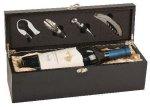 Single Wine Box With Tools -Black Finish Wine Gifts