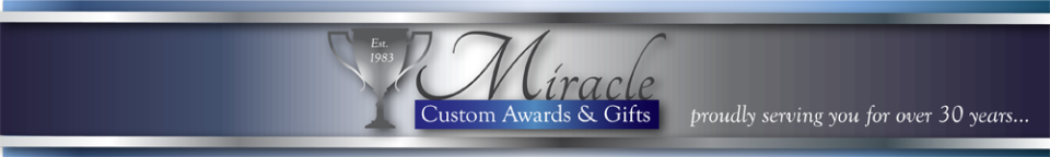 Miracle Custom Awards & Gifts - Trophy store/shop Akron, OH, Ohio, memorial plaques, trophies and awards, fantasy football trophies, personalized trophies, plaques and awards, golf trophies, golf awards, medals, sports medals, acrylic awards, crystal awards, cup trophies, perpetual plaques, baseball trophies, football trophies, soccer trophies, corporate plaques, recognition plaques, glass awards, gifts, personalized clocks, corporate awards, executive gifts, wedding gifts, graduation gifts, wedding party gifts, Don Drumm engr